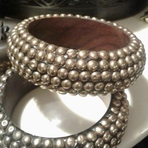Used, BOHO Teak-wood and Brass Bangles Pair for sale